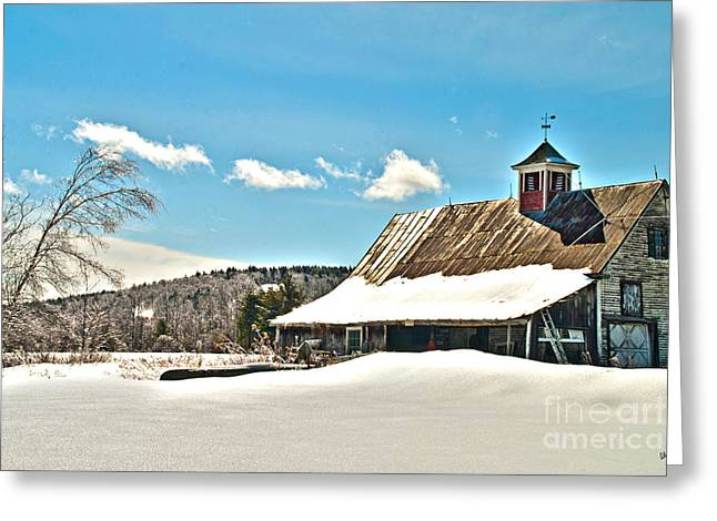 Old Maine Barns Greeting Cards - Winter Barn Greeting Card by Alana Ranney