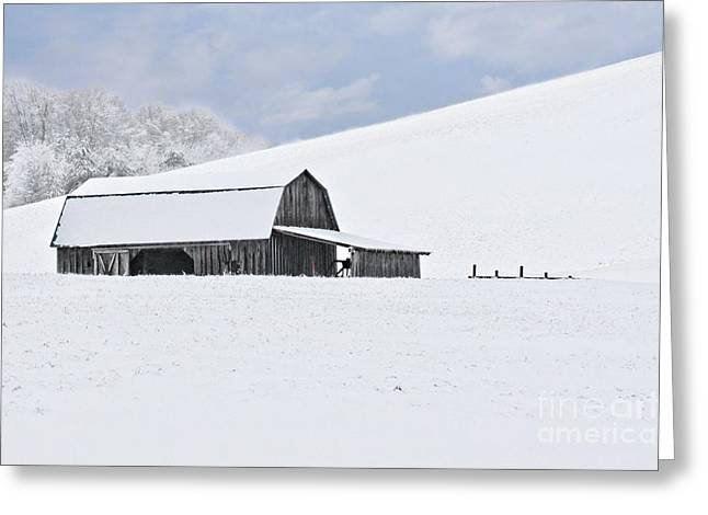 Calm Waiting Greeting Cards - Winter Barn Greeting Card by Benanne Stiens