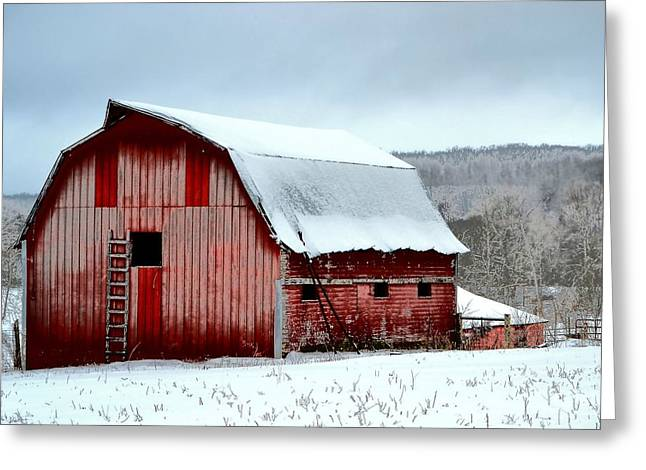 Wintry Greeting Cards - Winter Barn Greeting Card by Deena Stoddard