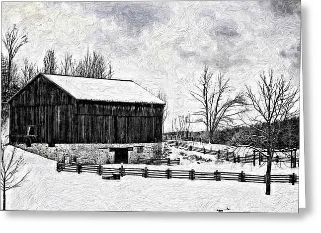 Ontario Landscape Print Greeting Cards - Winter Barn impasto version Greeting Card by Steve Harrington