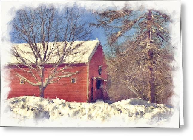 Sudbury Ma Photographs Greeting Cards - Winter Barn Greeting Card by Jayne Carney
