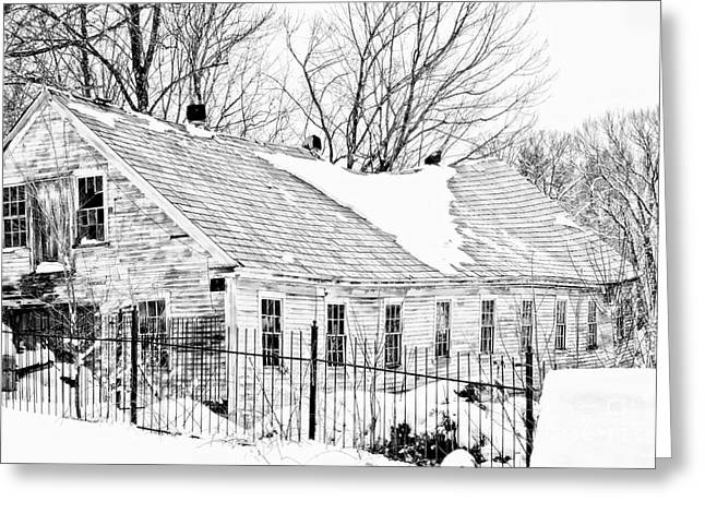 Red Roofed Barn Greeting Cards - Winter Barn Greeting Card by Marcia Lee Jones
