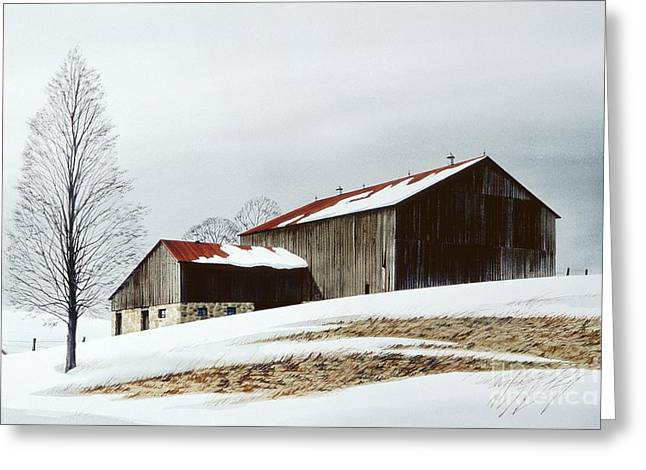 Realistic Watercolor Greeting Cards - Winter Barn Greeting Card by Michael Swanson