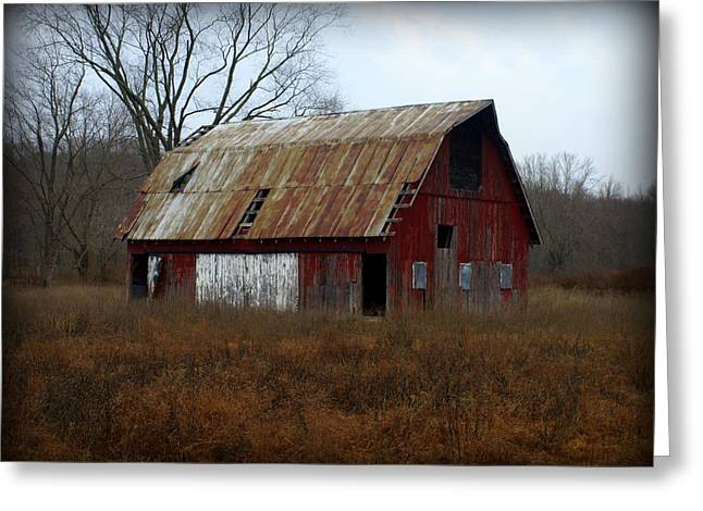 Red Roofed Barn Greeting Cards - Winter Barn Greeting Card by Mike Stanfield