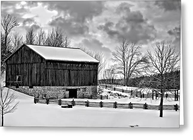 Snow Tree Prints Greeting Cards - Winter Barn monochrome Greeting Card by Steve Harrington