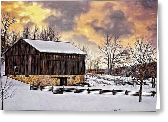 Snow Tree Prints Greeting Cards - Winter Barn - Paint Greeting Card by Steve Harrington