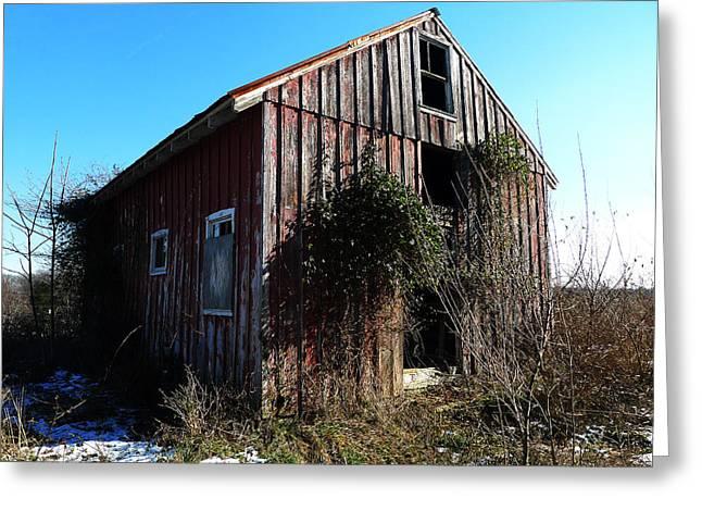 Winter Barn Greeting Card by Richard Reeve