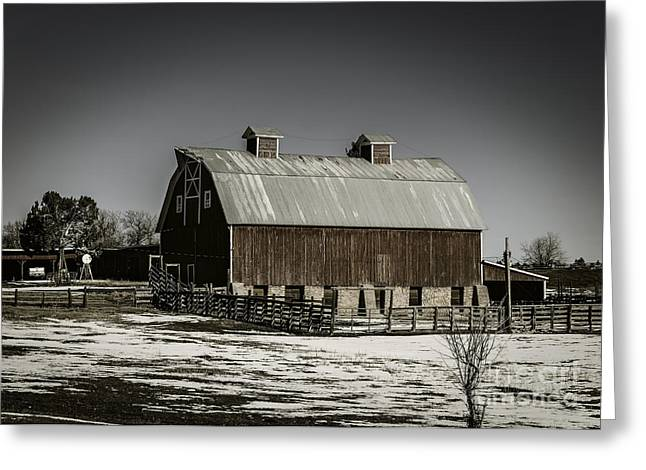 Wintry Greeting Cards - Winter Barn Scape Greeting Card by Janice Rae Pariza