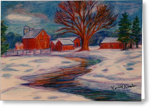 Snow Scene Pastels Greeting Cards - Winter Barn Scene Greeting Card by Kendall Kessler