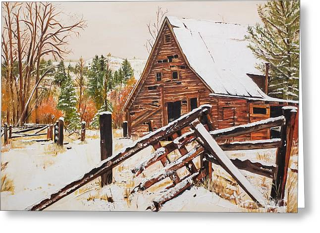 Peaceful Scene Greeting Cards - Winter - Barn - Snow in Nevada Greeting Card by Jan Dappen