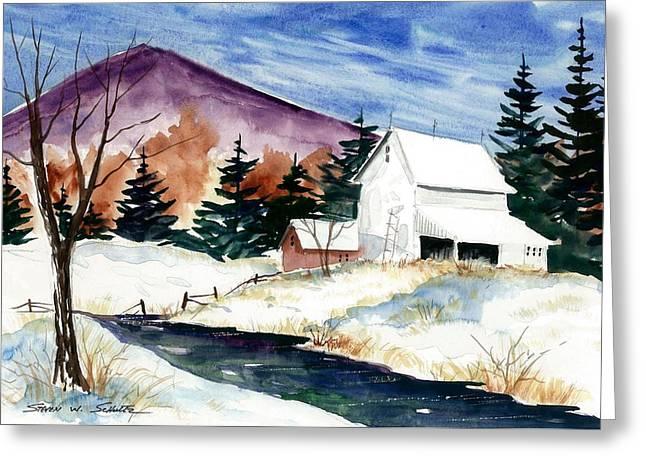 Award Winning Art Greeting Cards - Winter Barn Greeting Card by Steven Schultz