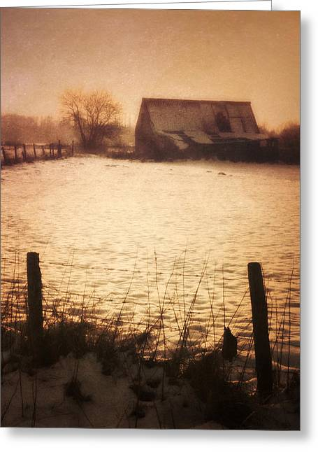 Mysterious Sunset Greeting Cards - Winter Barn Greeting Card by Wim Lanclus