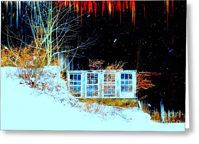 Reflecting Buildings Greeting Cards - Winter Barn window views Greeting Card by Janine Riley