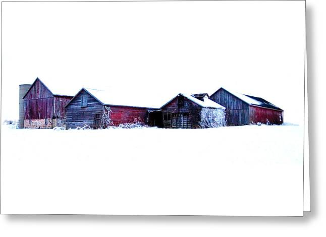 Wisconsin Barn Greeting Cards - Winter Barns Greeting Card by Jeff Klingler