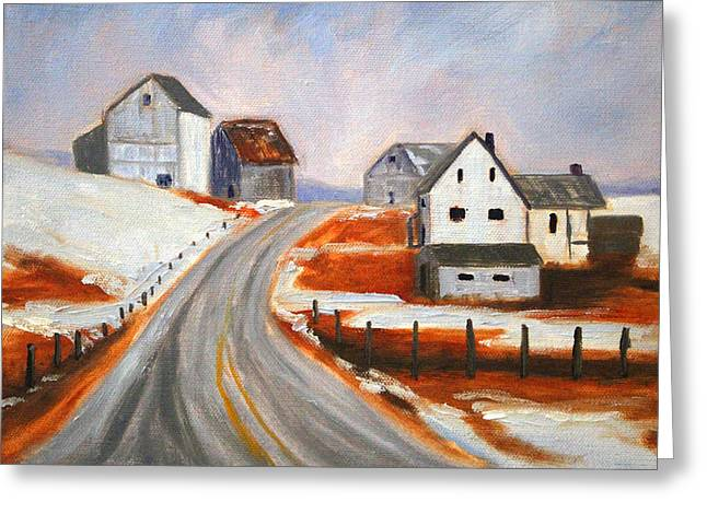 Out-building Greeting Cards - Winter Barns Greeting Card by Nancy Merkle