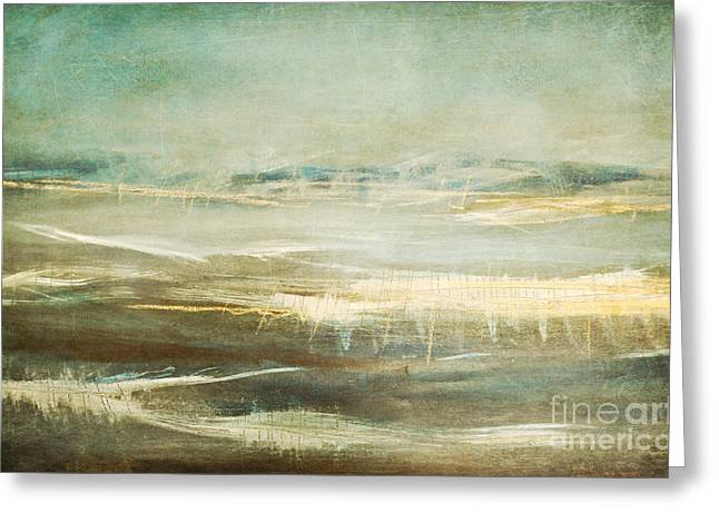 Abstract Seascape Mixed Media Greeting Cards - Winter Beach Greeting Card by Iris Lehnhardt