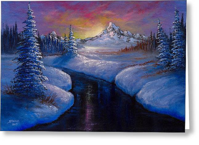 Bob Ross Paintings Greeting Cards - Winter Beauty Greeting Card by C Steele