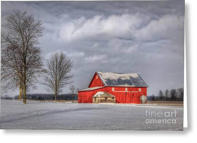 Winter Farm Scene Greeting Cards - Winter Beauty Greeting Card by Pamela Baker
