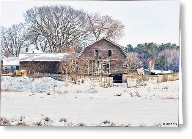 Old Roadway Greeting Cards - Winter Behind the Barn Greeting Card by Richard Bean