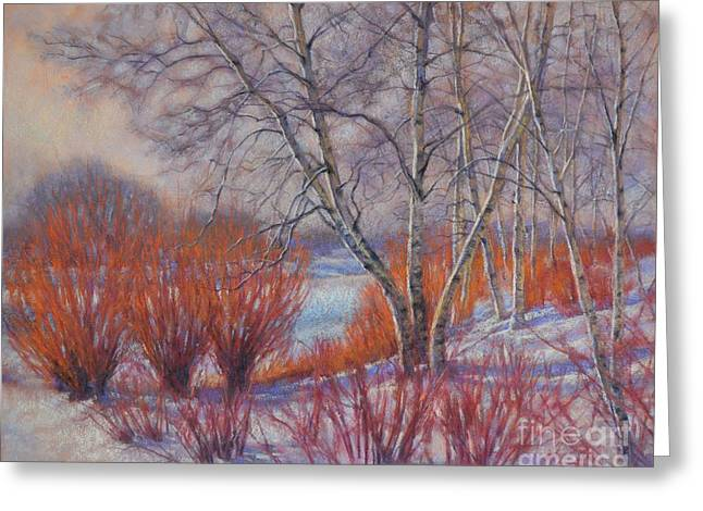 Snow Scene Landscape Pastels Greeting Cards - Winter Birches and Red Willows 1 Greeting Card by Fiona Craig