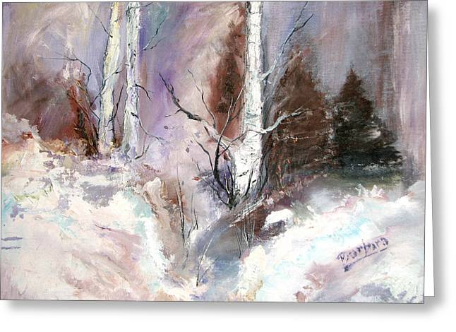 Winter Birches Greeting Card by Barbara Cole