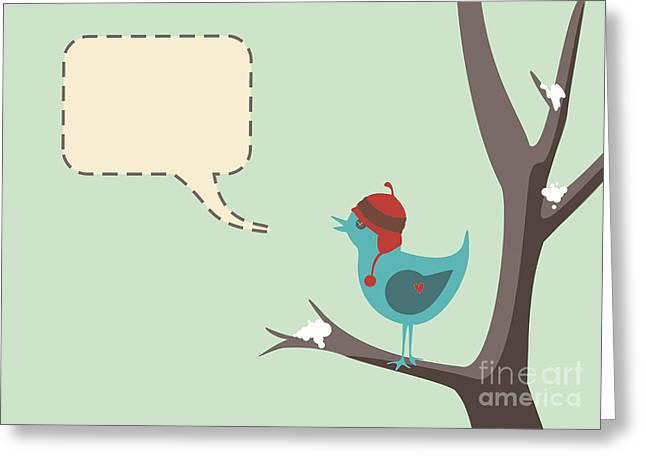Speech Balloon Greeting Cards - Winter Bird Greeting Card by Tim Hester