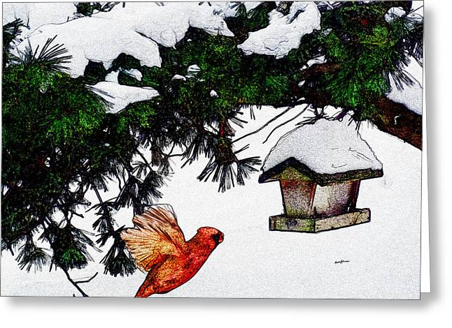 Fir Trees Greeting Cards - Winter Birdfeeder Greeting Card by Anthony Caruso