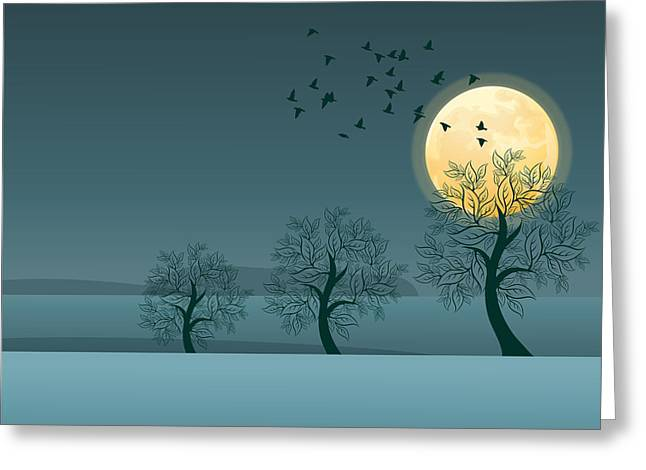 Limburg Digital Art Greeting Cards - Winter birds and trees Greeting Card by Nop Briex