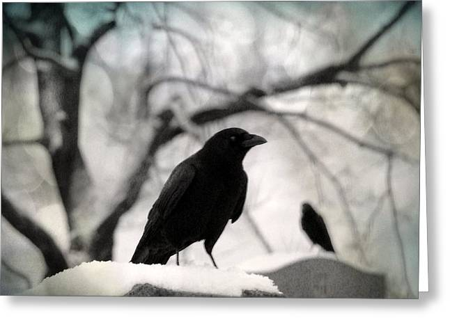 Crows On Tombstones Greeting Cards - Winter Blackbirds Greeting Card by Gothicolors Donna Snyder