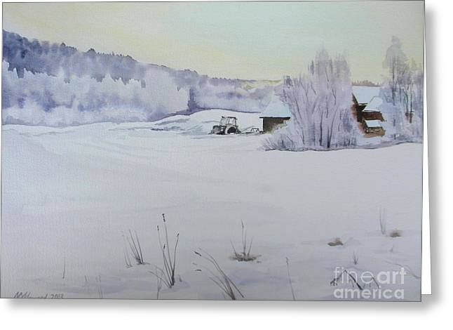 Shed Paintings Greeting Cards - Winter Blanket Greeting Card by Martin Howard