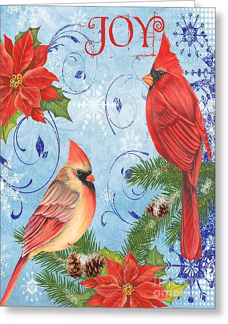 Pine Cones Mixed Media Greeting Cards - Winter Blue Cardinals-Joy Card Greeting Card by Jean Plout