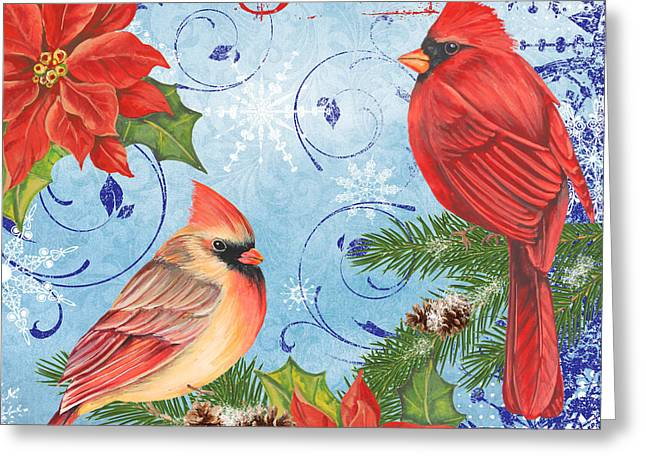 Pine Cones Mixed Media Greeting Cards - Winter Blue Cardinals-Joy Greeting Card by Jean Plout