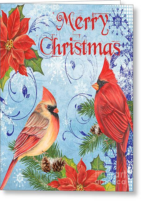 Pines Mixed Media Greeting Cards - Winter Blue Cardinals-Merry Christmas Card Greeting Card by Jean Plout