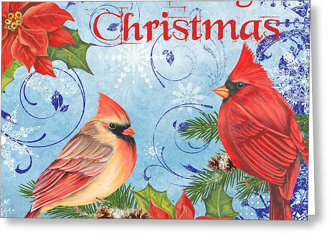 Pine Cones Mixed Media Greeting Cards - Winter Blue Cardinals-Merry Christmas Greeting Card by Jean Plout