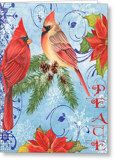 Pine Cones Mixed Media Greeting Cards - Winter Blue Cardinals-Peace Card Greeting Card by Jean Plout