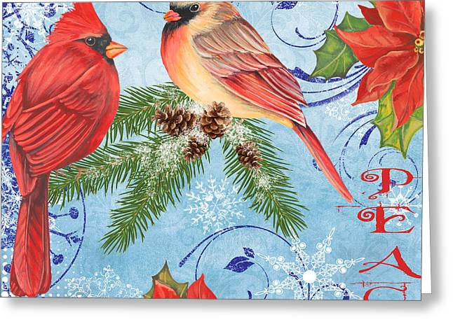 Pine Cones Mixed Media Greeting Cards - Winter Blue Cardinals-Peace Greeting Card by Jean Plout