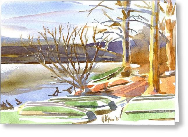 Winter Scenes Rural Scenes Paintings Greeting Cards - Winter Blue Greeting Card by Kip DeVore