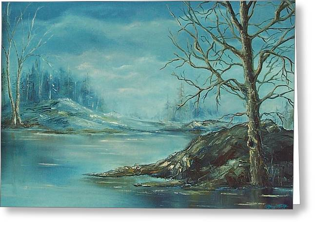 Winter Blue Greeting Card by Mary Wolf