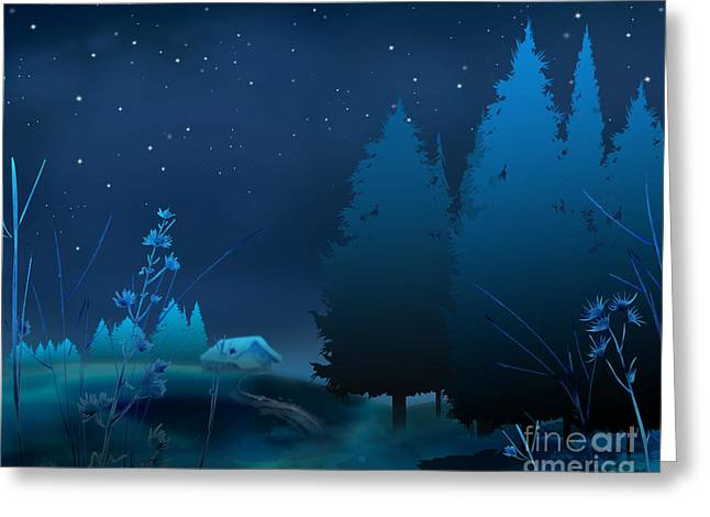 Evening Lights Mixed Media Greeting Cards - Winter Blue Night Greeting Card by Bedros Awak