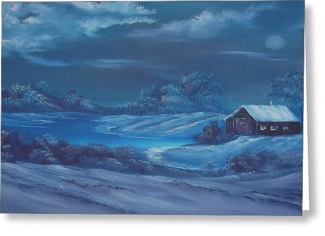Snow-covered Landscape Greeting Cards - Winter Blues For Sale Greeting Card by Cynthia Adams