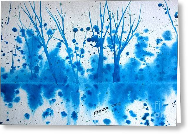 Wet Into Wet Watercolor Greeting Cards - Winter Blues Greeting Card by Eunice Miller