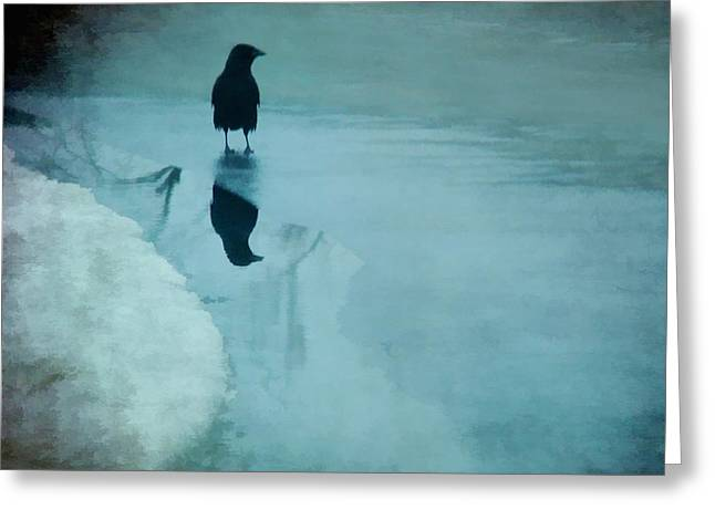 Winter Crows Greeting Cards - Winter Blues Greeting Card by Gothicolors Donna Snyder