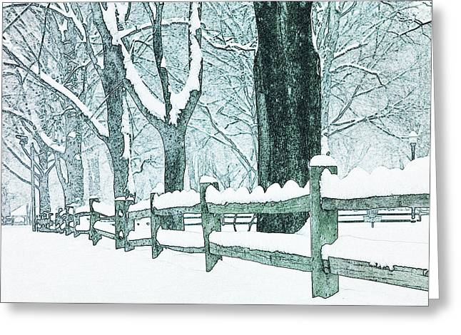 Split Rail Fence Greeting Cards - Winter Blues Greeting Card by John Stephens