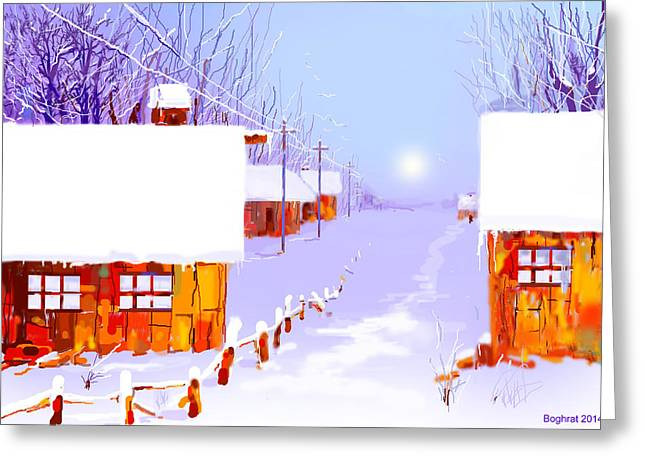 Hanuka Greeting Cards - Winter Greeting Card by Boghrat Sadeghan