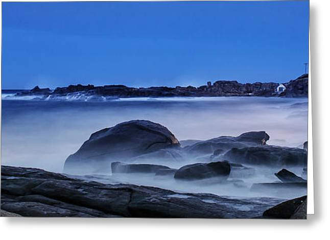 New England Lighthouse Greeting Cards - Winter Bomb hits Nubble Greeting Card by Scott Thorp