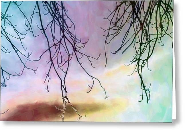 Subtle Colors Greeting Cards - Winter Branches in a Pastel Sky Greeting Card by Hal Halli