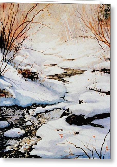 Canadian Winter Art Greeting Cards - Winter Break Greeting Card by Hanne Lore Koehler