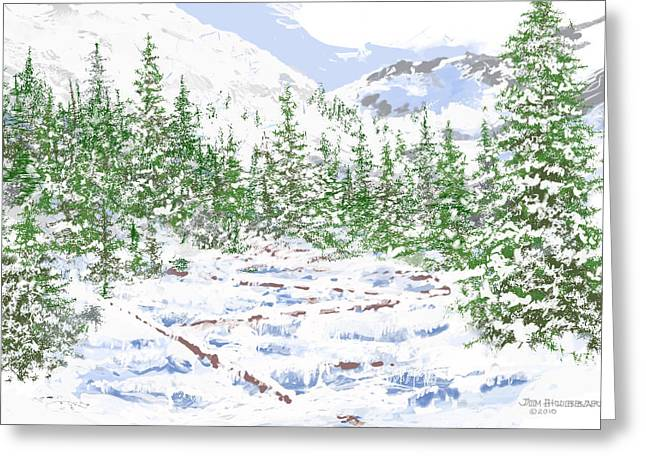 Photoshop Drawings Greeting Cards - Winter Brook Greeting Card by Jim Hubbard