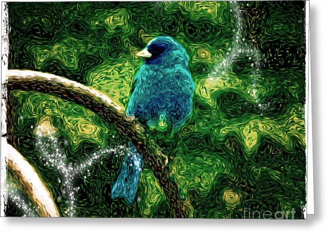 Blue And Green Greeting Cards - Winter Bunting Greeting Card by Laura Brightwood
