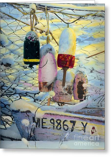 Winter In Maine Greeting Cards - Winter Buoys Greeting Card by Cindy McIntyre